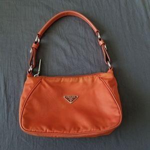 Authentic !!!Orange Prada Nylon shoulder bag. $230